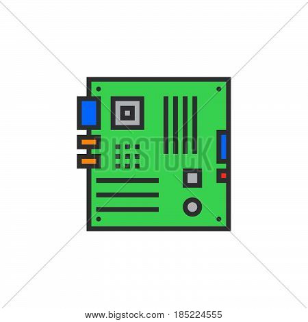 Personal Computer Motherboard Line Icon, Filled Outline Vector Sign, Linear Colorful Pictogram Isola