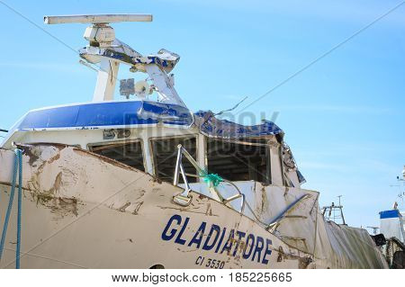 Chioggia Italy - April 30 2016: The wreck of the