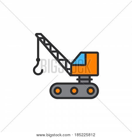 Crawler Crane Line Icon, Filled Outline Vector Sign, Linear Colorful Pictogram Isolated On White. Lo