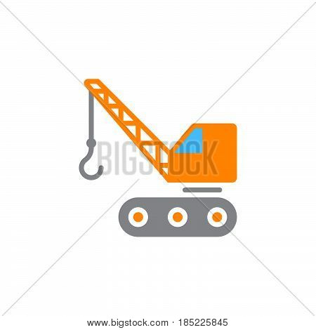 Crawler Crane Icon Vector, Filled Flat Sign, Solid Colorful Pictogram Isolated On White, Logo Illust