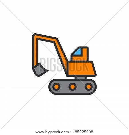 Excavator, Crawler Digger Line Icon, Filled Outline Vector Sign, Linear Colorful Pictogram Isolated