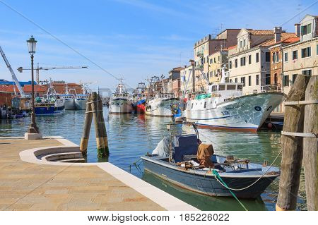 Chioggia Italy - April 30 2016: Ships moored at the port of Chioggia in Italy after catching
