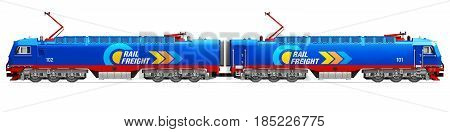 3D render illustration of modern blue heavy freight electric locomotive isolated on white background
