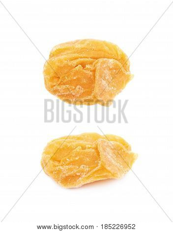 Single dried apricot fruit isolated over the white background, set of two different foreshortenings