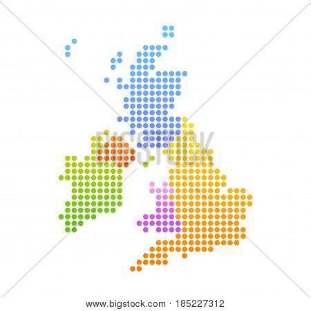 Map of United Kingdom and Ireland Vector Colorful Illustration in dot style.