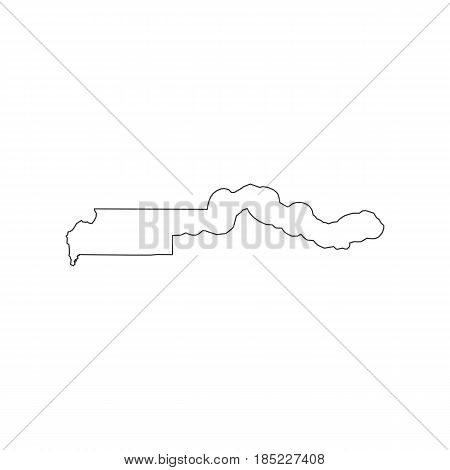 Gambia map silhouette on the white background. Vector illustration