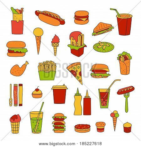Fast food big vector set. Burgers, sandwiches, hot dogs, drinks and other fast food hand-drawn in cartoon style.