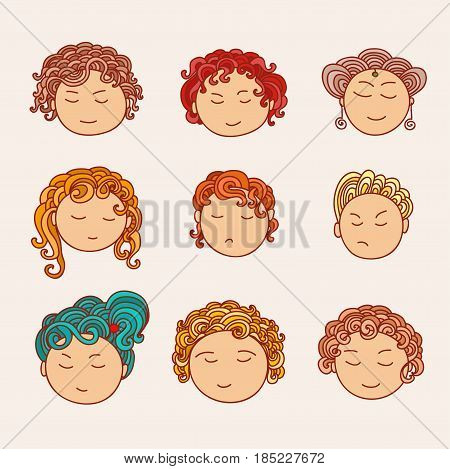 Set of nine different cute hand drawn faces with a multi-colored curly hair. Doodle collection of avatars. Artistic design elements. Vector Illustration isolated on background.