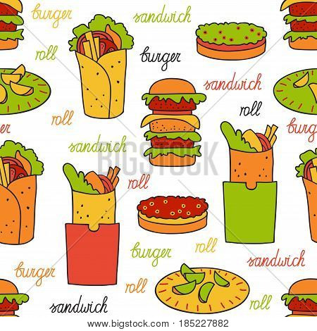 Seamless pattern with hamburger and rolls. Hamburgers, rolls, potato wedges and lettering by hand. Vector illustration in Doodle style.