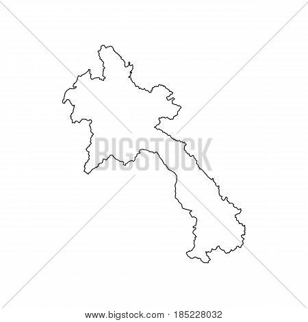 Laos map silhouette on the white background. Vector illustration