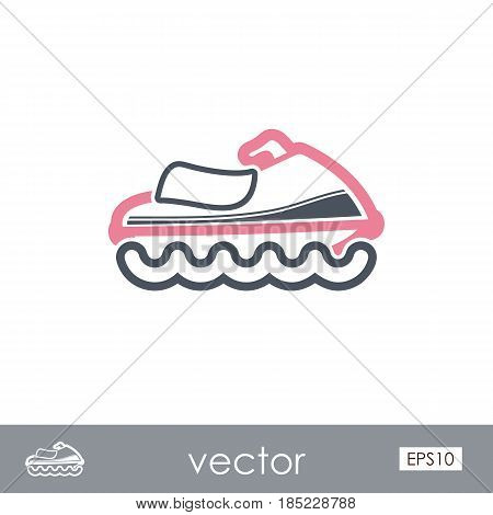 Jet Ski outline vector icon. Beach. Summer. Summertime. Vacation eps 10