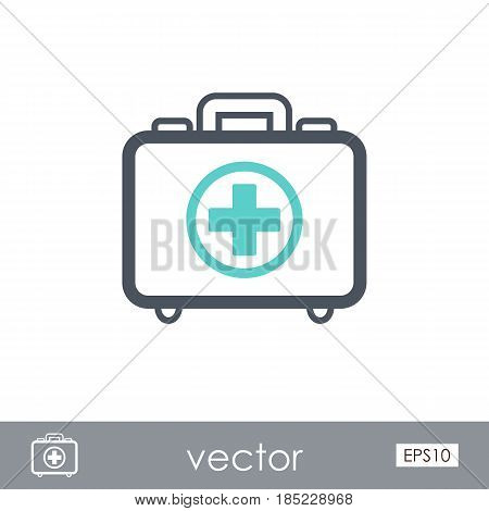 First aid kit outline vector icon. Beach. Summer. Summertime. Vacation eps 10