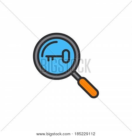 Keyword Research Symbol. Magnifying Glass And Key Line Icon, Filled Outline Vector Sign, Linear Colo