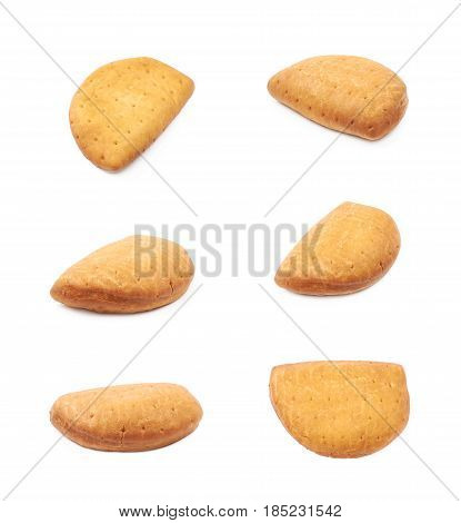 Meat pie isolated over the white background, set of six different foreshortenings