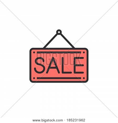 Sale Door Plate Line Icon, Filled Outline Vector Sign, Linear Colorful Pictogram Isolated On White.