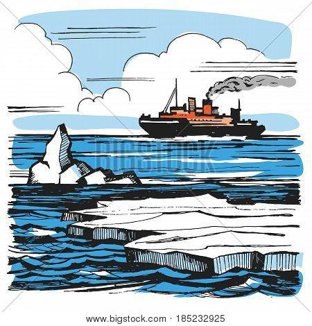 Iceberg sketch cartoon landscape. The icebreaker sails on the horizon. Graphic color illustration. Icebreaker on the horizon.