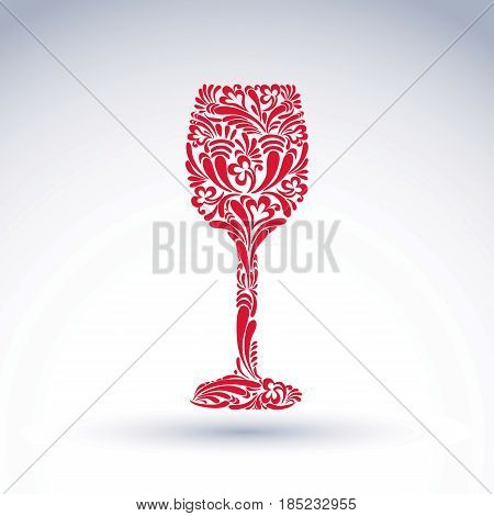 Creative goblet with floral ethnic pattern relaxation and alcohol theme object. Sophisticated wineglass romantic vector design element can be used in graphic design.