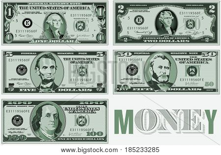 A set of precisely drawn bills for print or web use