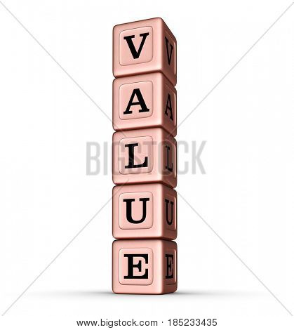Value Word Sign. Vertical Stack of Rose Gold Metallic Toy Blocks. 3D illustration isolated on white background.