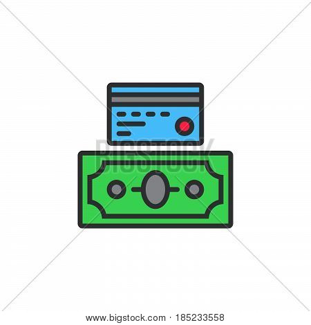 Credit Card And Cash Money, Payment Options Line Icon, Filled Outline Vector Sign, Linear Colorful P