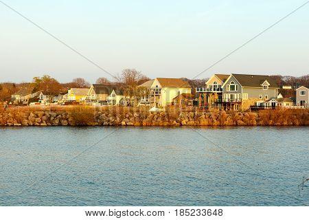 Vacation houses along the Lake Ontario shoreline, near Rochester, New York