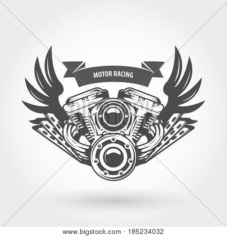 Winged motorcycle engine emblem - chopper bike motor