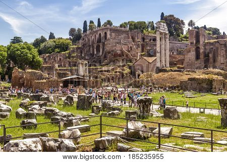 ROME - MAY 10, 2014: Ruins of the Roman Forum and the Palatine Hill. The Roman Forum is an important monument of antiquity and is one of the main tourist attractions of Rome.