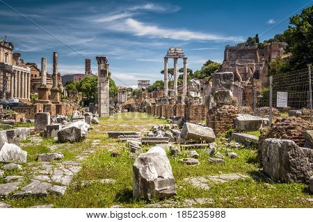 Ruins of the Roman Forum in Rome, Italy. The Roman Forum is an important monument of antiquity and is one of the main tourist attractions of Rome.