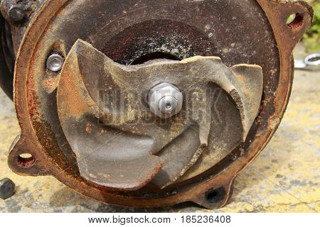 A sewage pump, with broken wing wheel