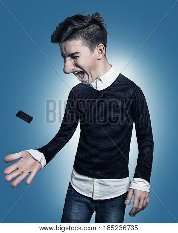 little mobile phone of comic teenager get out of the hand and catchwith his big hand