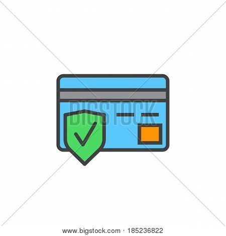 Secure Payment Symbol. Credit Card And Shield Line Icon, Filled Outline Vector Sign, Linear Colorful