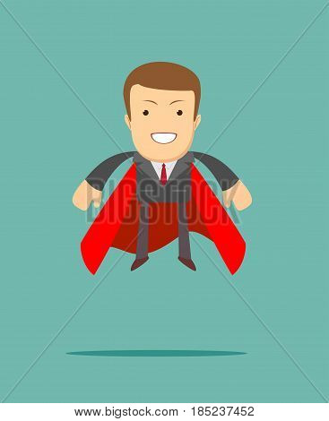 superhero businessman the concept of success, leadership and victory in business. Stock flat vector illustration.
