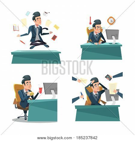 Multitasking Businessman at Work. Office Life. Vector cartoon illustration
