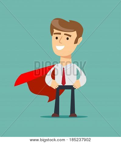 Young man in a business suit and red cape superhero standing in a confident pose with his arms crossed. Business concept of leadership and success. Flat vector illustration.