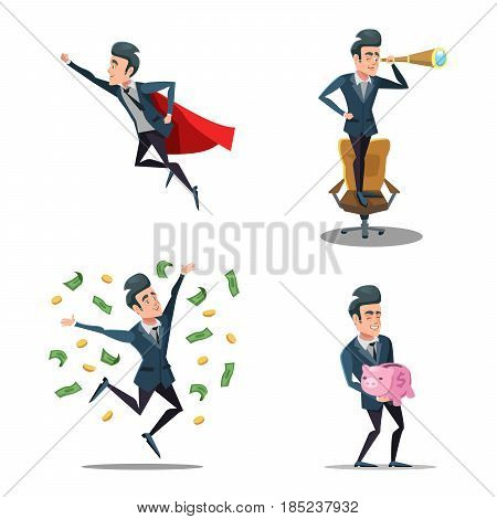 Successful Businessman Cartoons. Super Business Man Flying. Piggy Bank. Vector character illustration
