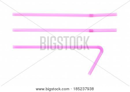 Pink plastic drinking straw isolated over the white background, set of three different foreshortenings