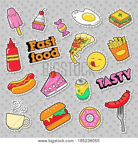Fast Food Badges, Patches, Stickers with Burger Fries Hot Dog Pizza Donut Junk Food. Vector Doodle