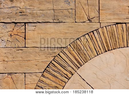 Abstract background of wooden beams stone and marble. Mosaic