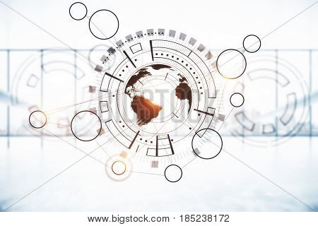 Creative digital business charts with globe on blurry background. Digital business concept. 3D Rendering