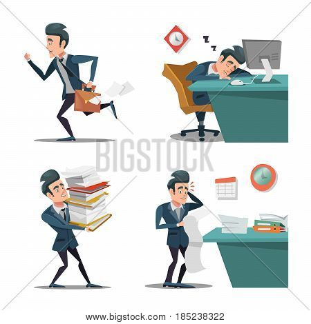 Stress at Work. Businessman with Briefcase Late to Work. Man in Rush. Overtime in Office. Vector character illustration