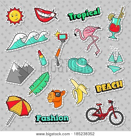 Beach Tropical Badges, Patches, Stickers with Bicycle Banana Flamingo and Lipstick. Vector doodle