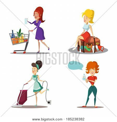 Modern Women Cartoons. Housewife with Vacuum Cleaner. Girl in Supermarket. Summer Vacation. Vector Character illustration