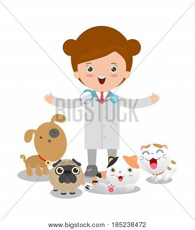 Vector illustration of a woman veterinary physician and pets: cat, dog.