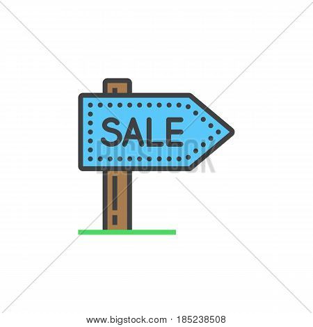 Sale Signpost Line Icon, Filled Outline Vector Sign, Linear Colorful Pictogram Isolated On White. Lo
