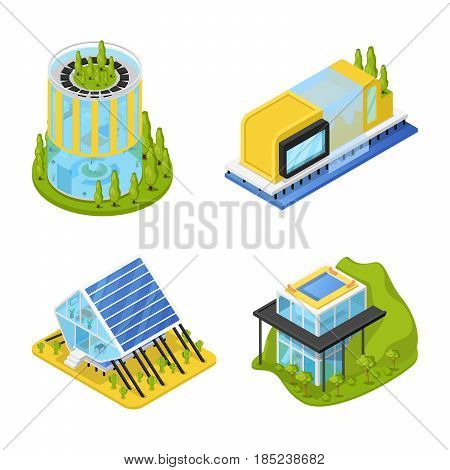 Futuristic Private Houses with Plants. Modern Architecture. Isometric vector flat 3d illustration