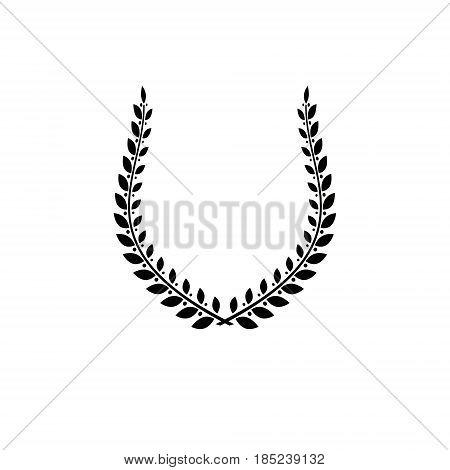Laurel Wreath Floral Ancient Emblem Created In Horseshoe Shape. Heraldic Vector Design Element. Retr