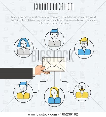 Communication process infographic of running email campaign. Human hand holding an envelope spreading information thought email distributing channel to customers. Thin line icons.