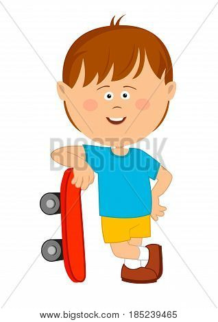 Cute little boy leans on his skateboard over white background