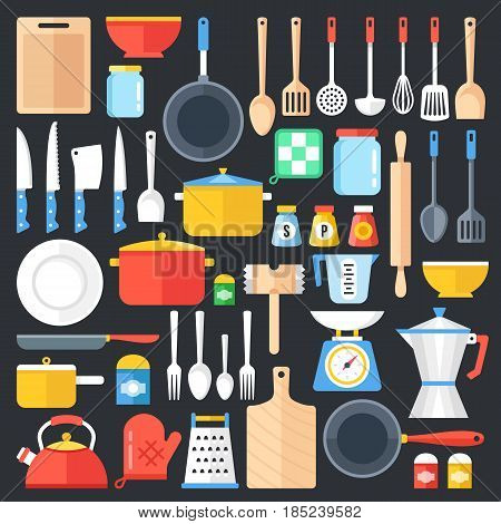 Kitchen utensils set. Kitchenware, cookware, kitchen tools collection. Modern flat icons set, graphic elements, objects for websites, web banner, infographics. Flat design concept. Vector illustration