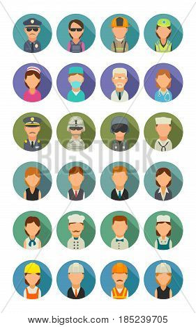 Set icon people different professions. Character cook, builder, business, army, police, fireman and medic. Vector flat illustration on colorful circle.